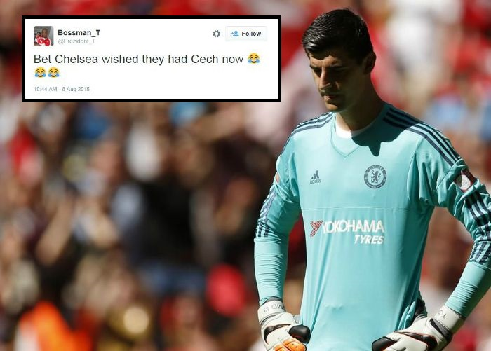 Arsenal fans took to Twitter to troll Chelsea after Courtois' red card (Picture: Getty)