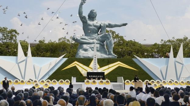 Sunday's ceremony at the Nagasaki Peace Park saw the release of doves