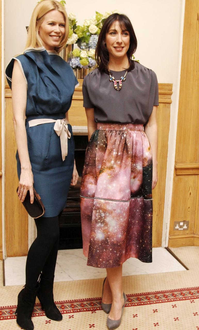 SAMANTHA CAMERON SPORTING A SKIRT BY CHRISTOPHER KANE AT A LONDON FASHION WEEK RECEPTION SHE HOSTED AT DOWNING STREET IN 2011 WITH CLAUDIA SCHIFFER