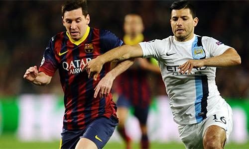 Aguero từng nhiều lần cùng Man City đối đầu với Barca.