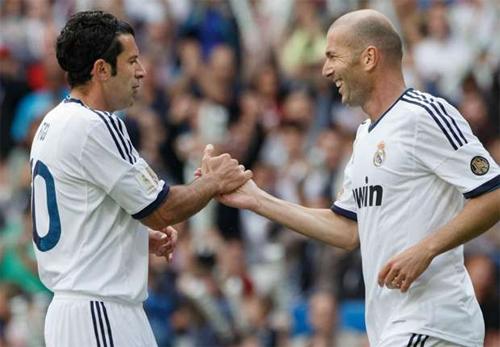 Figo và Zidane từng có 5 năm thi đấu với nhau trong màu áo Real. Ảnh: Reuters