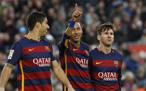 Suarez, Neymar và Messi có thể là bộ ba hay nhất lịch sử Barca. Ảnh: Reuters