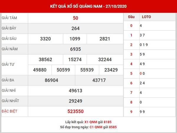 Thống kê Xổ Số Quảng Nam thứ 3 ngày 3-11-2020